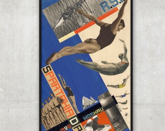 Wall art print, Postcards sketch for Moscow Spartakiad in 1928 - Constructivism poster, bathroom decor, P085