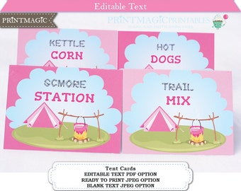 Pink Glamping Birthday Party Food Labels - Camping Birthday Party Food Label - Buffet Table Tent Cards - Editable Text - Instant Download