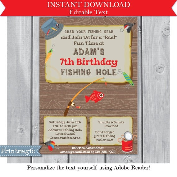 Fishing birthday party invitation fishing invitation for Fishing birthday party invitations