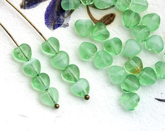 Heart beads, Glass hearts, Light Green czech glass beads, pressed beads, small hearts - 6mm - 30Pc - 2151