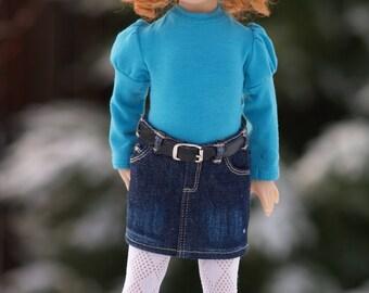"""Colvins Jeans Skirts PDF pattern for 13"""" Effner Little Darling Dolls"""