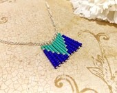 The Heather- Cobalt Blue and Turquoise Seed Bead Chevron Statement Bib Necklace