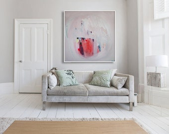 "ABSTRACT print,GICLÉE print of  white, pink, red painting, modern, expressionist, ""Mandarin Talk"""