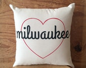 Milwaukee Pillow - heart /  Wisconsin, Beer, MKE, Midwest, Home Decor