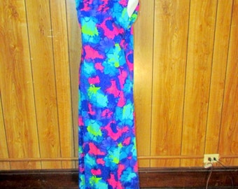 Retro VINTAGE HAWAIIAN MAXI Dress
