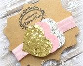 Glitter Heart Headband- Gold, Pink & Silver- Felt Baby Headband- Pink Hearts Headband, Glitter Elastic Headband, SparkleToddler Headband
