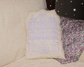 Parisian Haussmann Building Pillow - Parisian Building Cushion - Orchid Applique on cream Cotton Canvas - More Sizes Avalaible