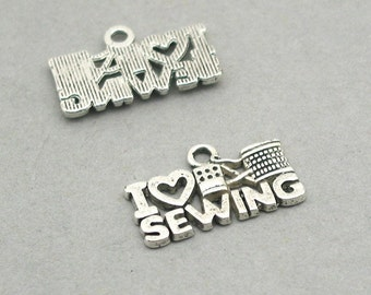 I Love Sewing Quote Charms Antique Silver 6pcs zinc alloy beads 12X21mm CM0875S