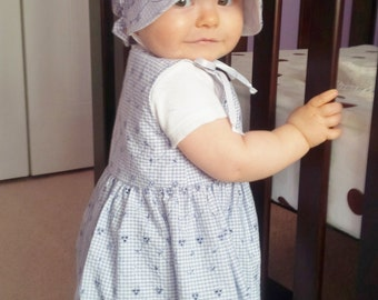 Baby Bonnet, Sun Hat, Blue Eyelet Bonnet, Girl Sun Bonnet, Summer Hat, Newborn Bonnet, Toddler Hat, Girl Bonnet, Baby Hat, Made To Order