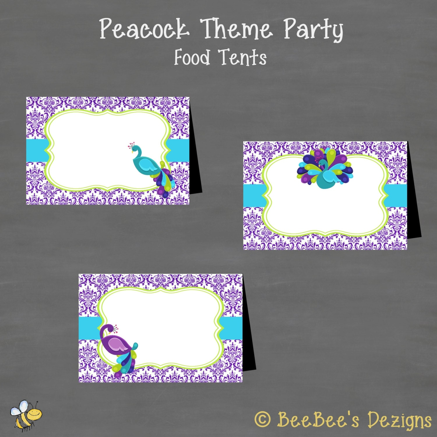 instant download peacock baby shower or birthday food tents