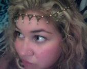 Goddess Headband with Tangerine Freshwater Pearls and Swarovski Crystals