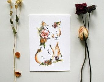 Foxy Friend - Fox Illustration Floral Watercolor Print - 5 x 7
