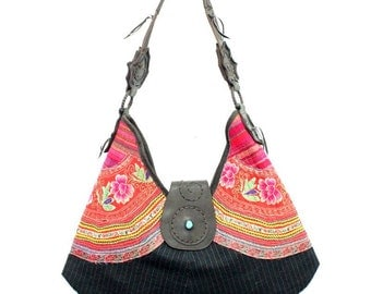 Hmong Handbag With Leather Strap Vintage Embroidered Fabric Thailand (BG362.10)