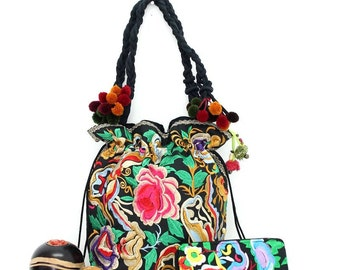 Flowers Set of Tote Bag and Wallet Clutch Hill tribe Thailand (ST7064-9ROSE)