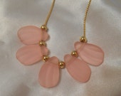 Avon Frosted Petals Necklace in Pink Rose