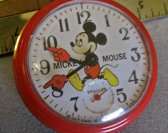 Mickey Mouse POCKET WATCH Vintage 70s Bradley Rare Disney Rare Collectible Wind Up Shabby Chic Condition Not Working