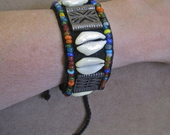 Cowrie Shell Bracelet Tribal Ethnic Beaded Fabric Wrap Cuff with Ties Multi Colored Glass Seed Beads BOHO Bold Tribal Festival Hippie Surfer