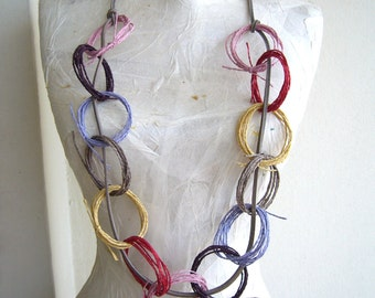Chain necklace fiber art/rainbow necklace paper and leather/loop necklace colorfull
