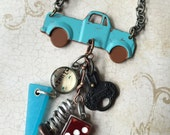 Industrial Chic Art-i-Cake Mixed Media Altered Art Steampunk Blue Retro Truck Charm Vintage Necklace Jewelry