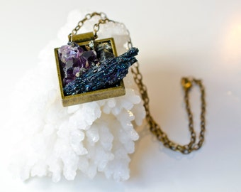 Raw Minerals- Nature-Gemstones Mix-Pendant/Necklace-Wearable Art