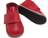 Red leather and suede handmade shoes for children and toddlers, outdoor shoes, play shoes, children's shoes, boys shoes, girls shoes