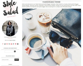 Blogger Template Blogspot Template Style Salad - Instant Digital Download, Stylish, Edgy, Black and White