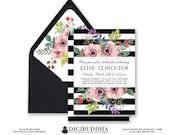 BLACK & WHITE STRIPE Bridal Shower Invitation Pink Watercolor Flowers Anemone Boho Wedding Free Priority Shipping or DiY Printable- Elise