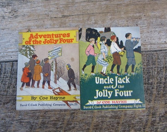 Lot of 2 Vintage Childrens Books Uncle Jack and the Jolly Four and Adventures of the Jolly Four By Coe Hayne 1920s Cook Publishing Vintage