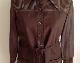Vintage 1960s 70s Brown Topstitch Detail Shirtdress by Kenny Classics