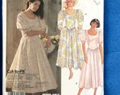 Vintage 1980's McCalls 2982 Garden Party Dresses with Puff Sleeves & Fitted Bodice Size 12..14..16 UNCUT