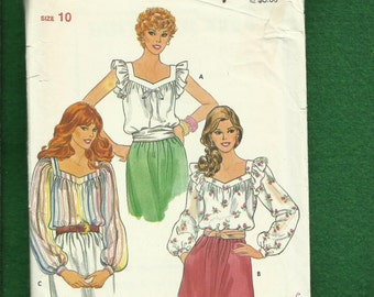 Vintage 1980's Butterick 4294 Country Tops with Ruffled Shoulder Caps Size 10 UNCUT