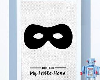 Superhero Print, Superhero Poster, Kids Wall Art, Childrens Room, Nursery Wall Art, Scandinavian, Monochrome, Boys Room, Childrens Prints