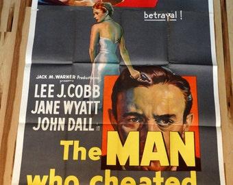 "Man Who Cheated Himself,The. Original 1951 US 41""x81"" 3-sheet Theater Movie Poster. Lee J. Cobb,Jane Wyatt,John Dall in Crime Film Noir film"