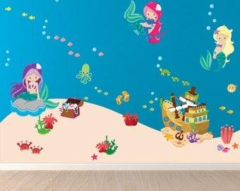 Mermaids Decal, Reusable Fabric Decal, REUSABLE Fabric Decal Non-toxic Eco-friendly