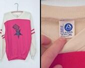 FULTON School Super Sweatshirt 1980s Artex Red Cream Pullover Unisex M L