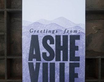 Greetings from Asheville Mountain Letterpress Postcard art