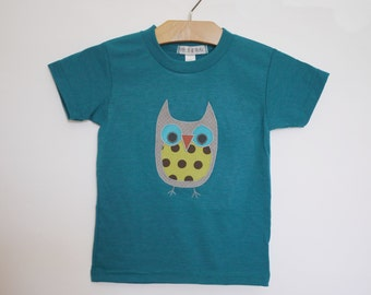 Childrens applique owl tshirt - teal heather - made with upcycled fabric