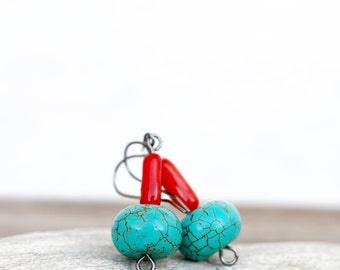 Turquoise Rondelle And Coral Earrings, Dangle, Natural Stone, Red Coral