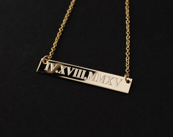 Wedding Anniversary date Roman Numeral horizontal bar nameplate 14k GOLD filled personalized charm necklace • Engagement bridal shower gifts