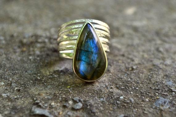 Labradorite Ring Two Stacking Rings Set Sterling Silver Multi Band & Teardrop Blue Green Flashy Ring Labradorite Stone Jewelry Size 7 Ring