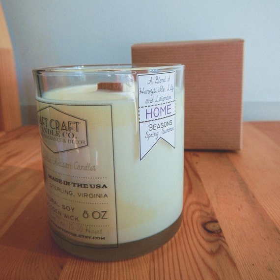 """HONEYSUCKLE, LILY, and LAVENDER: 8 oz. Aromatherapy """"Home"""" Candle"""