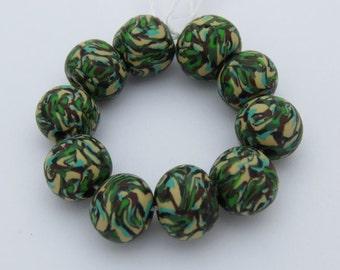 Beads, Camouflage beads, Handmade beads, 10mm beads, Round beads, Jungle green,Handmade, Jewelry Supply, Shygar beads, 10 pieces
