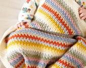 baby blanket crochet pattern striped throw pattern cotton crochet blanket english terms US pattern PDF photo prop