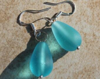 Silver Earrings, Aqua sea glass teardrops, Beach jewelry, Ocean Blues, Inarajewels