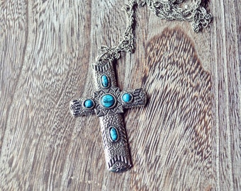 Vintage Silver Turquoise Cross