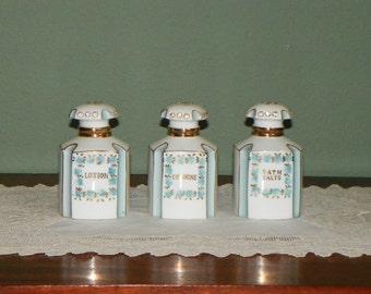 Vintage Lefton Dresser SET BOTTLES Perfumes Extremely Rare Deco style Blue Rhinestones Lotion Cologne Bath Salts