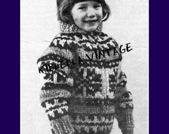 Cowichan White Buffalo Wool Childrens Snowflake Sweater Sizes Small - Medium - Large Knitting Pattern 10-C PDF Instant Download