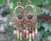 Boho Gypsy Antique Gold Metal Beaded Chandelier Earrings