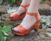 Vegan Ethnic Womens Sandals Tangerine Hmong Embroidery Cut Out Wedge Heel - Chelsea