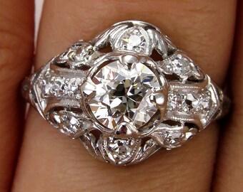 Antique Vintage Edwardian 1.06ct Platinum Diamond  Engagement Wedding Anniversary Ring - VIDEO
